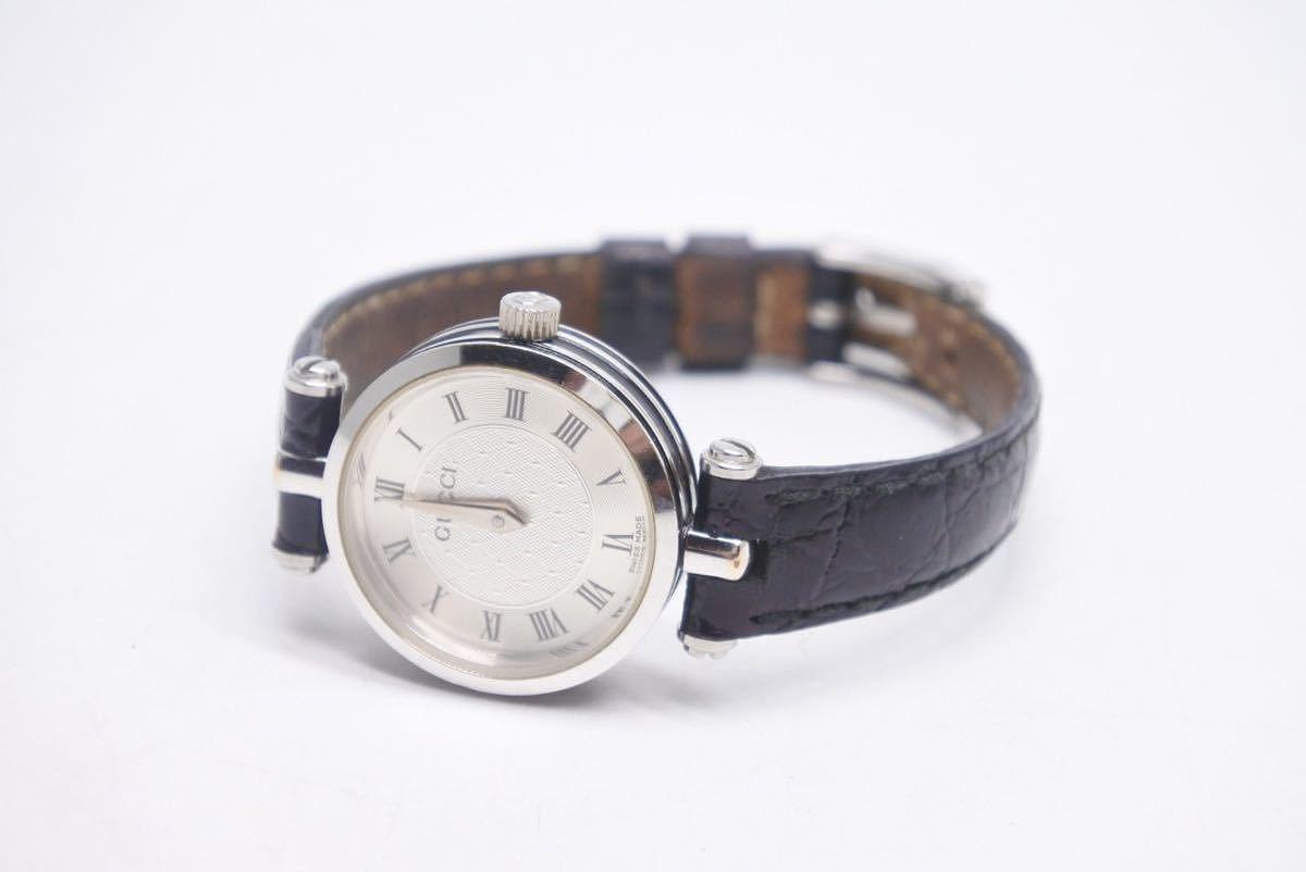 USED 中古 人気ブレゼント 送料無料 出群 GUCCI グッチ 腕時計 レディース ブラック 12802 シルバー