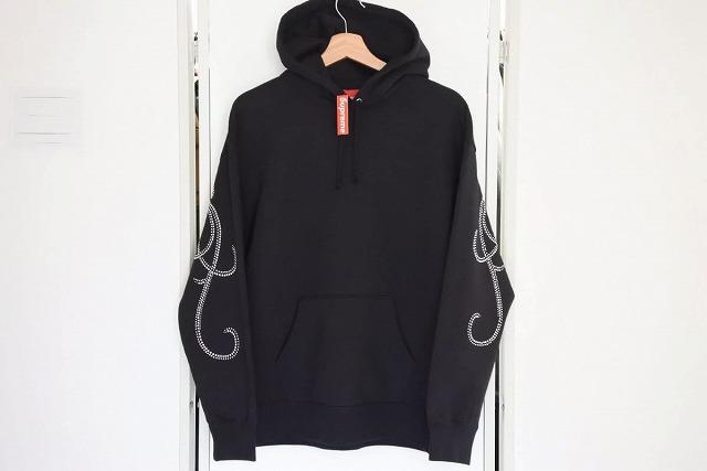 ◆[USED/中古]◆送料無料◆【新品同様】Supreme シュプリーム 19AW Rhinestone Script Hooded Sweatshirt パーカー フーディ ライトストーン スクリプト 新品同様 14968【中古】
