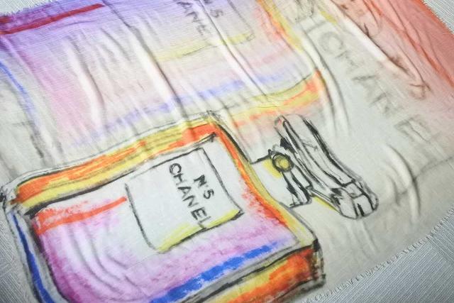 ◆[USED/中古]◆送料無料◆【中古】CHANEL シャネル 大判 ストール ショール マルチカラー 香水 カシミヤ 中古 17569【中古】