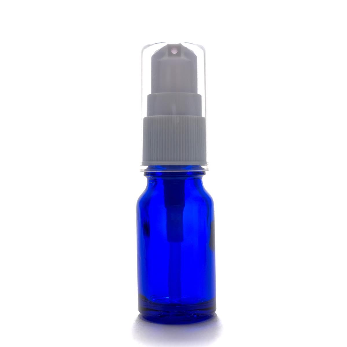 便利なポンプヘッド 開店祝い アロマ遮光瓶 10mL ポンプ:ホワイト 新色追加して再販 コバルト