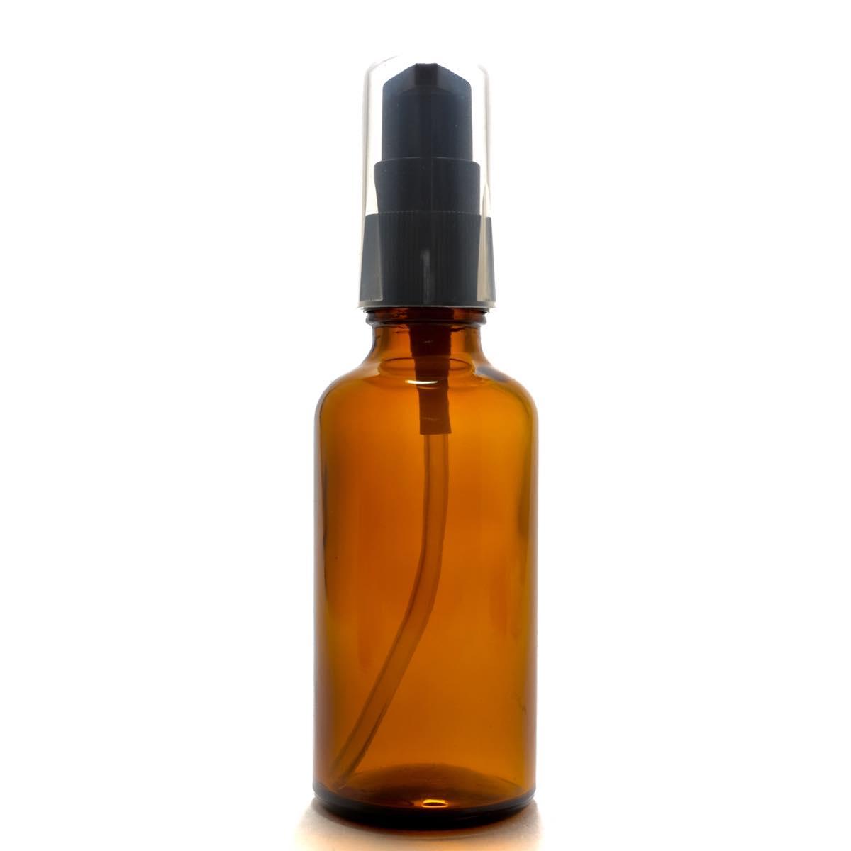 便利なポンプヘッド 春の新作 アロマ遮光瓶 50mL 特価 アンバー ポンプ:ブラック