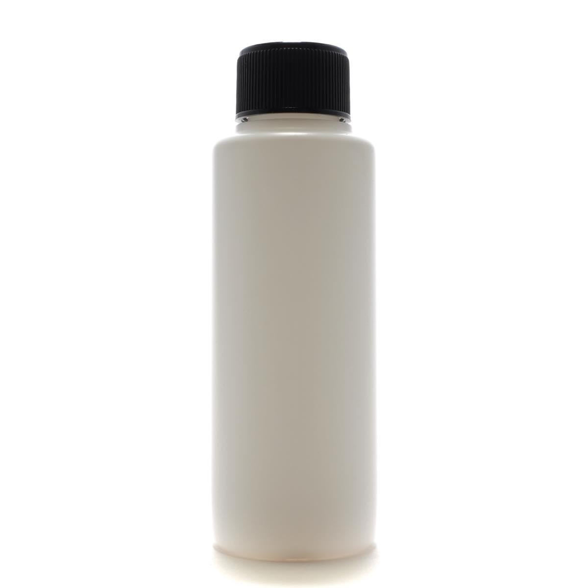プラスチック容器 100mL PE ホワイト ストレートボトル【スクリューキャップ:ブラック 中栓付き】【500個/ロット 送料無料】
