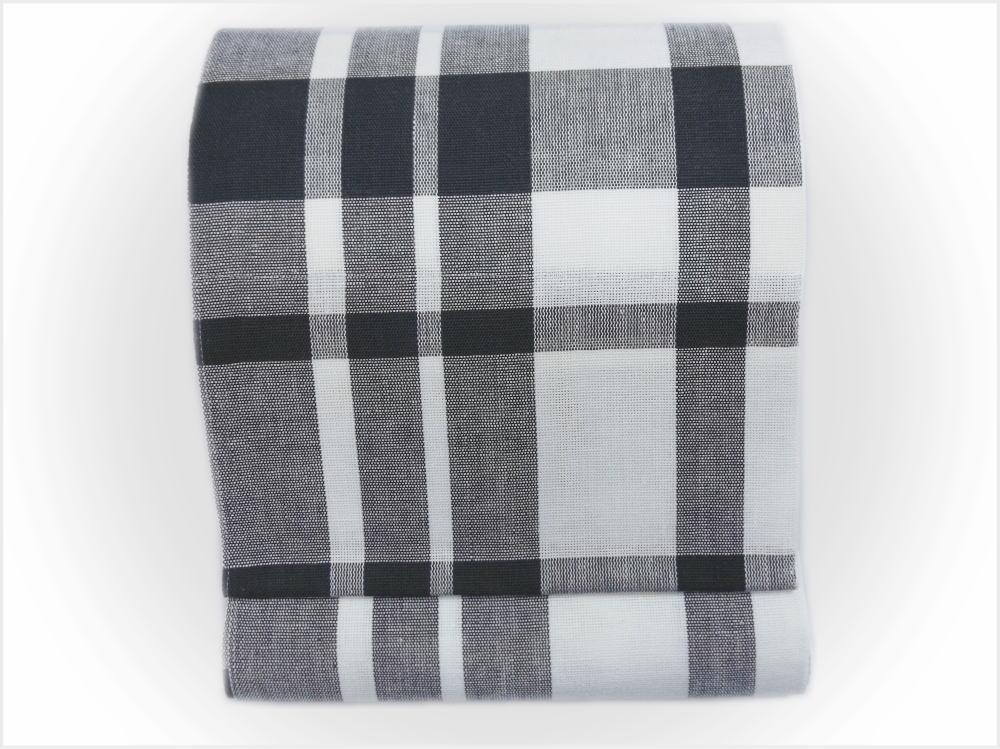 単衣&夏物着物に 夏用本麻全通八寸名古屋帯格子チェック黒(日本製)
