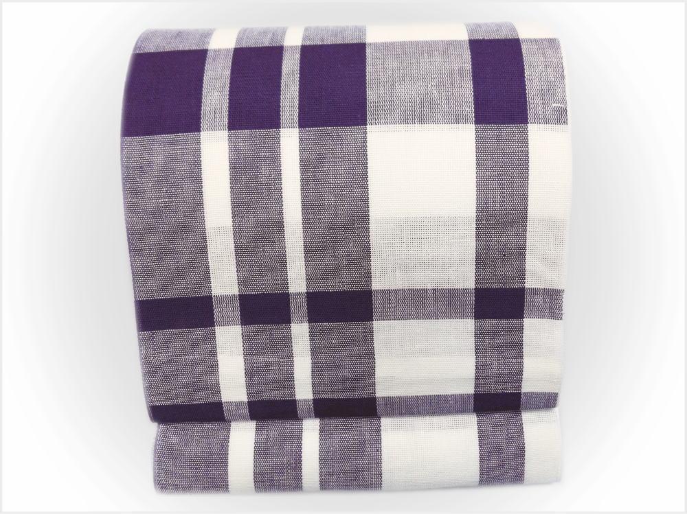 単衣&夏物着物に 夏用本麻全通八寸名古屋帯格子チェック紫(日本製)