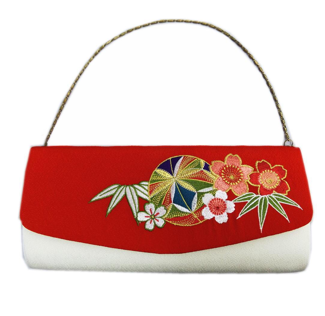 バッグ 手提げ クラッチ 赤白色地鞠桜刺繍 振袖 成人式 卒業式 袴 はかま 着物 IKKO かぶせタイプ 単品