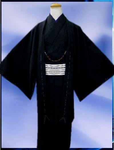お正月&各記念日に お仕立て上がりメンズ男物男性着物あとは着るだけフルセット黒M・L・LL