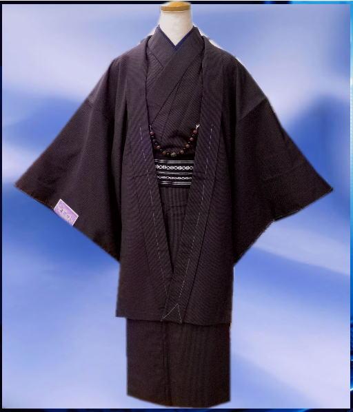 お正月&各記念日に お仕立て上がりメンズ男物男性着物5点セット紫×黒ラインM・L・LL