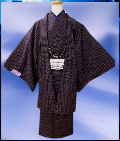お正月&各記念日に お仕立て上がりメンズ男物男性着物5点セット紫×黒市松M・L・LL