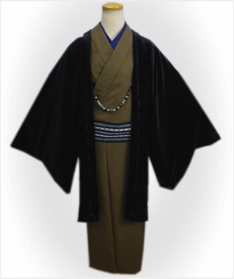 黒色 冬用 ベルベット 無地 着物 コート M 春秋 羽織 男物 LL和装 はおり L 男性 メンズ 単品