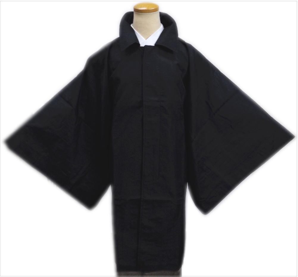 粋なメンズ男物男性角袖雨コート黒色M・L・LL 和装着物必需品