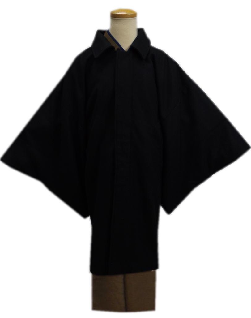 コート 和装 着物 メンズ 男物 男性 ウール混 角袖 黒色 M L LL 冬用 大きいサイズ