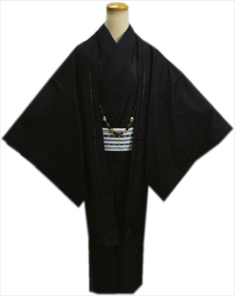お仕立て上がりメンズ男物男性夏用駒絽洗える着物5点セット黒色M・L・LL・3L 各記念日に