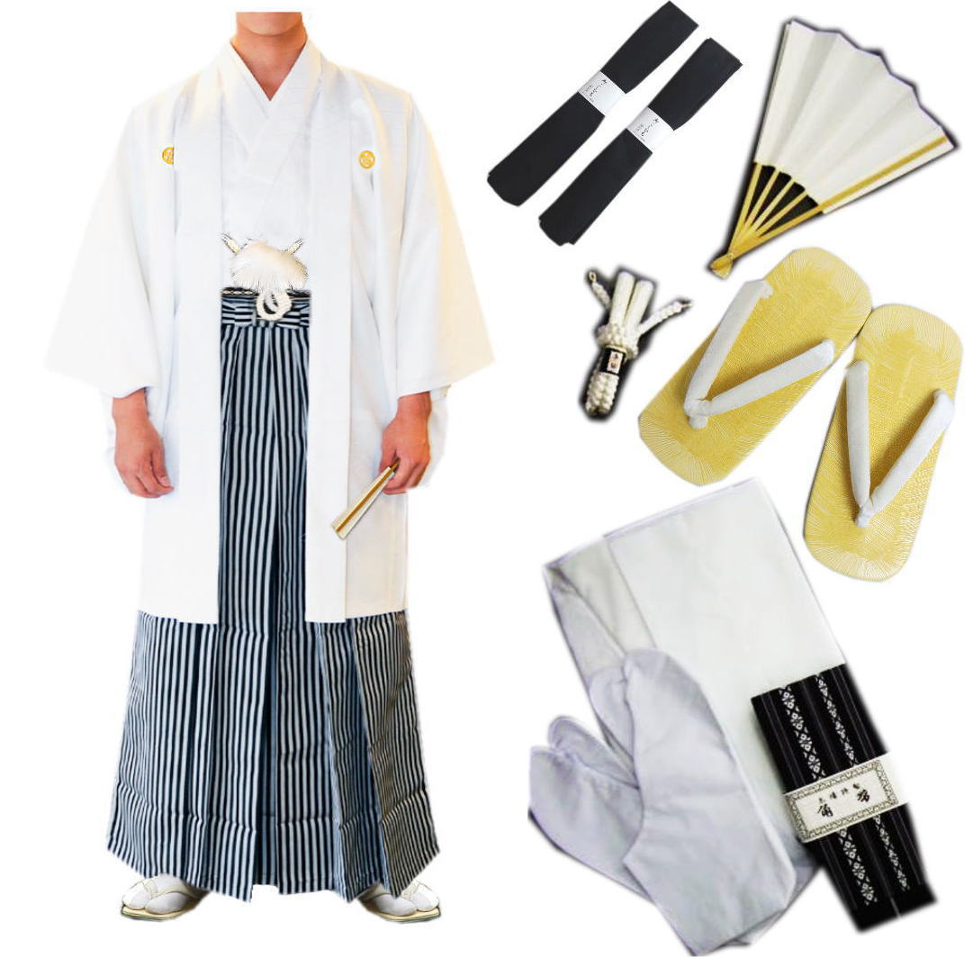 紋付羽織袴 メンズ 男物 男性 フルセット 白 成人式 卒業式 結婚式 4号~8号 あとは着るだけ 白色 紳士用 お買上