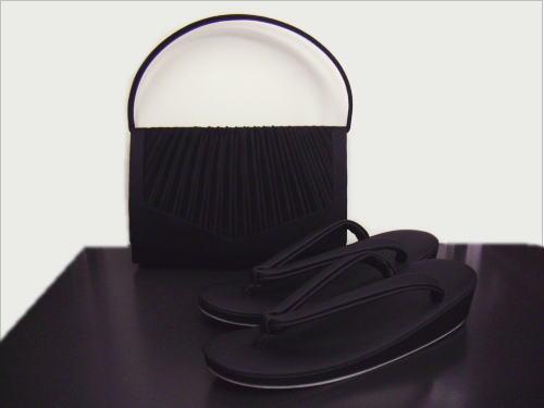 和洋兼用喪服用(お葬式・法事)総黒草履バッグセットM・L