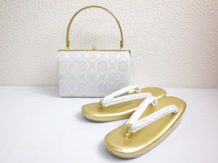 草履バッグセット 礼装用 帯地 留袖 結婚式 訪問着 着物 フォーマル 白銀織地亀甲紋様 フリー