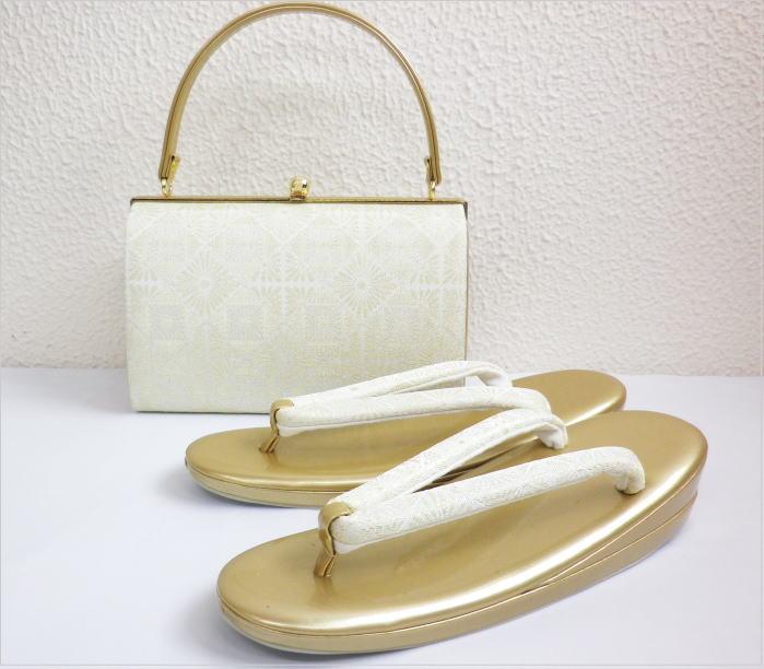 礼装用帯地草履バッグセット薄銀織地菊菱紋様M・L 留袖結婚式・訪問着に
