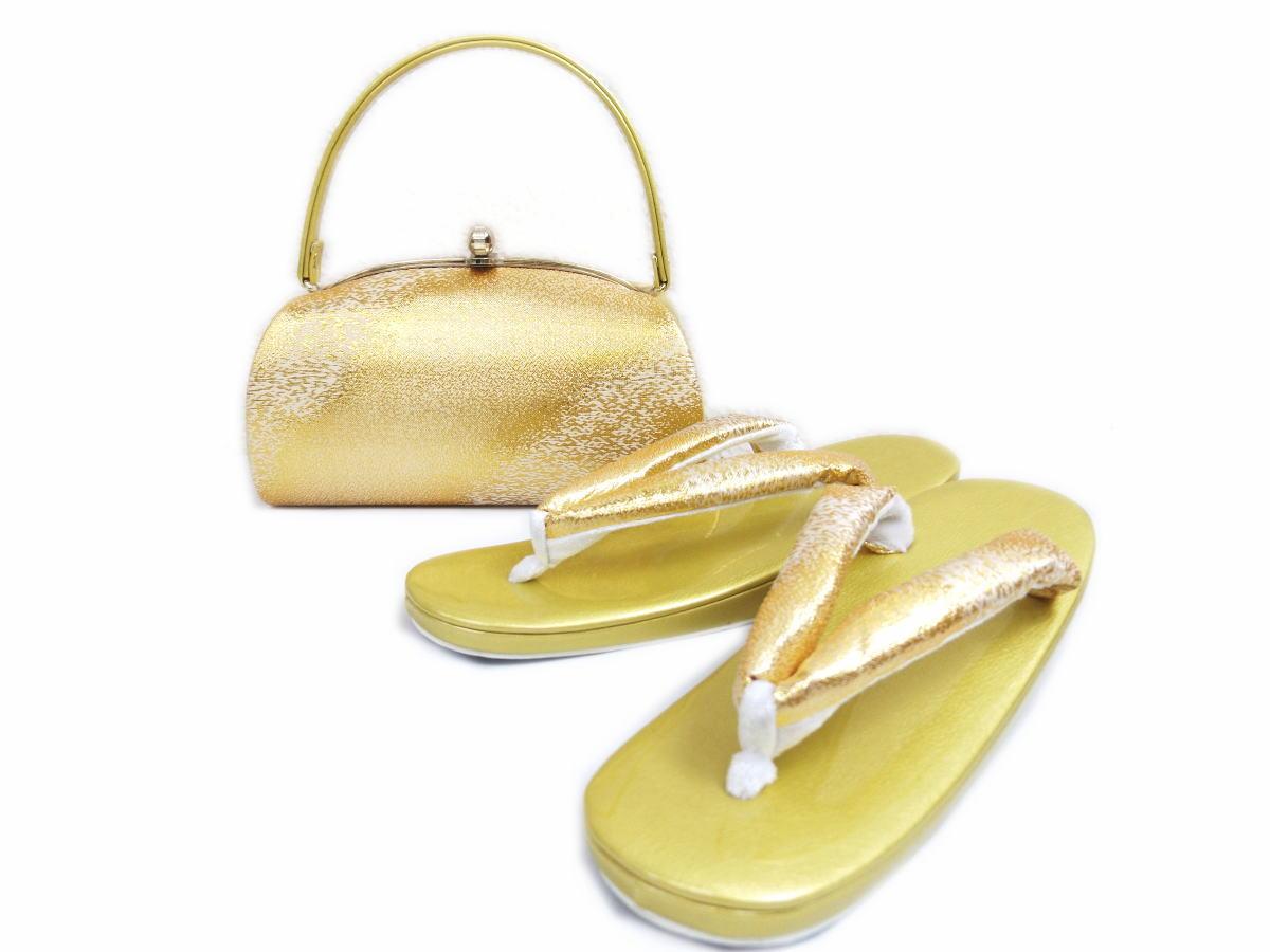 礼装用帯地草履バッグセット半月型金ゴールド(フリー) 留袖結婚式・訪問着&振袖成人式に