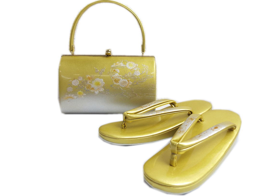 草履バッグセット 礼装用 金銀地古典花松輪 フリー 24cm 留袖 結婚式 訪問着 色無地 着物