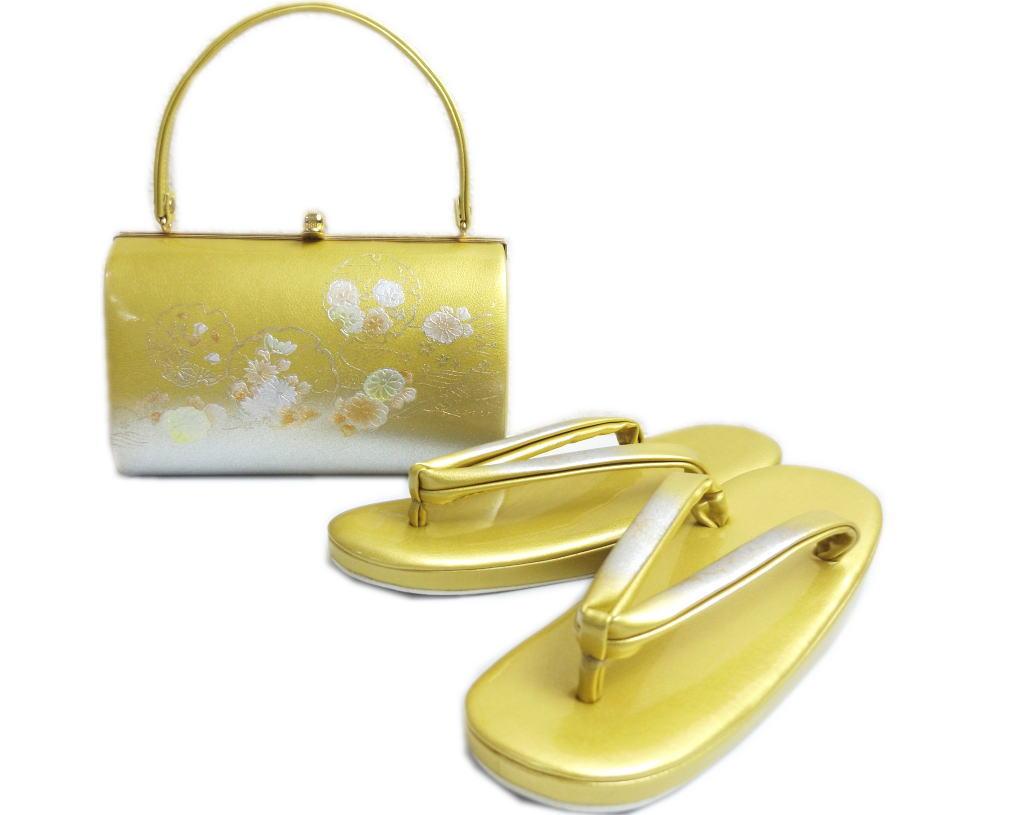 草履バッグセット 礼装用 金銀地雪輪古典花 フリー 24cm 留袖 結婚式 訪問着 色無地 着物