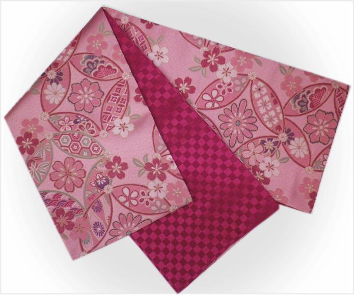 振袖成人式&着物に お仕立上がり全通袋帯薄ピンク地七宝古典