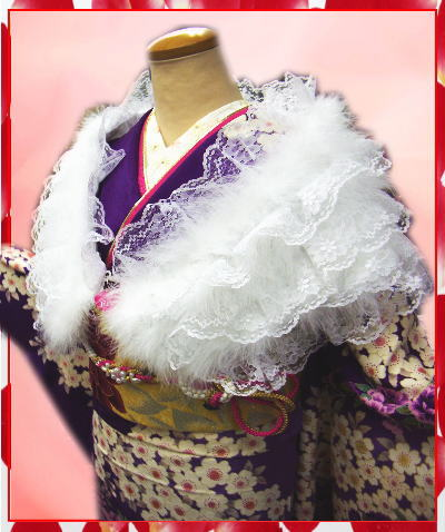 振袖成人式&卒業式袴に レース羽毛ショール白