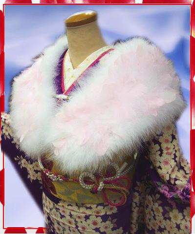 スワン羽毛ショール白にピンク羽根 振袖成人式&卒業式袴に