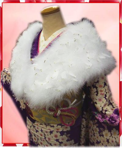スワン羽毛ショール白にラメ金白羽根 振袖成人式&卒業式袴に