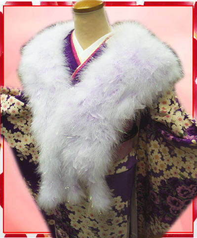 振袖成人式&卒業式袴に スワン羽毛ロングショール白にパープル羽根