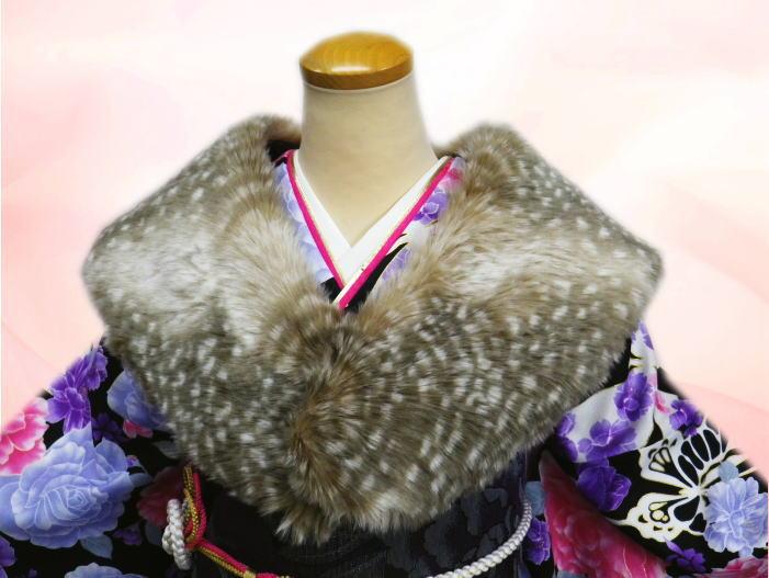 フェイクファーショールバンビ茶 振袖成人式&卒業式袴・着物・洋装に