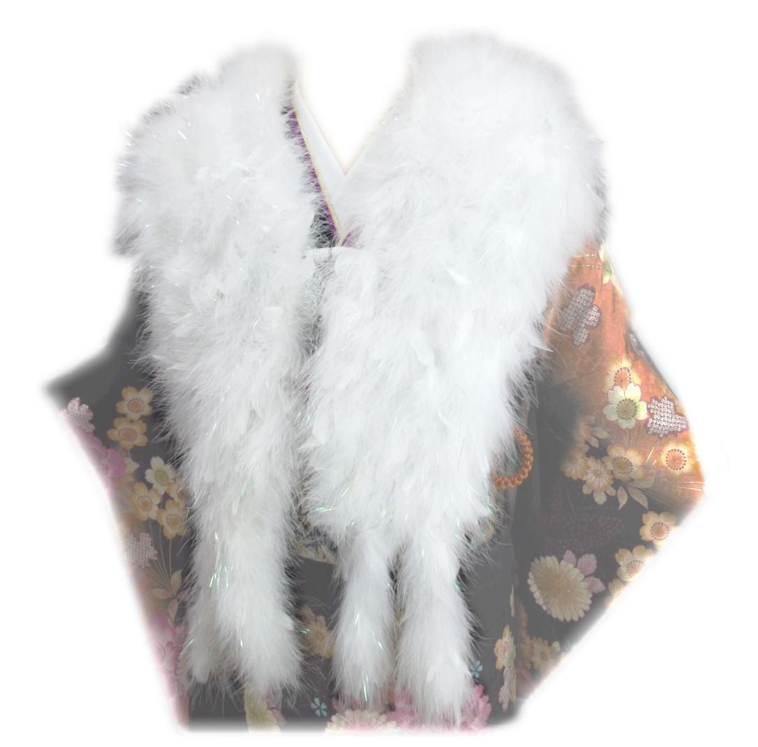 スワン羽毛ショール ロング 白に白羽根 振袖 成人式 卒業式 袴 はかま 着物 白色 フェザー ストール