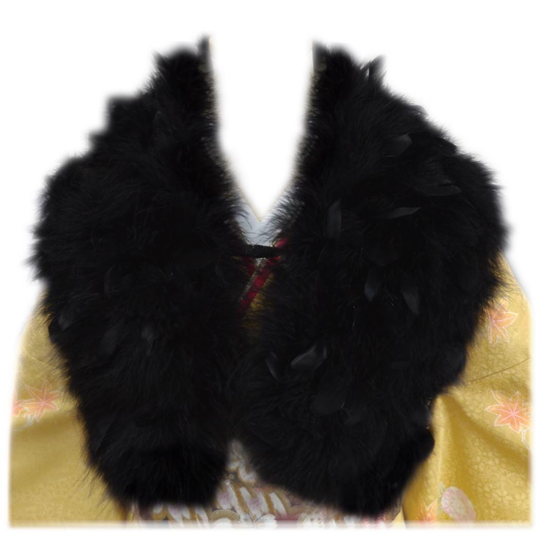 スワン羽毛ショール 黒に黒羽根 振袖 成人式 卒業式 袴 はかま 着物 黒色 フェザー ストール