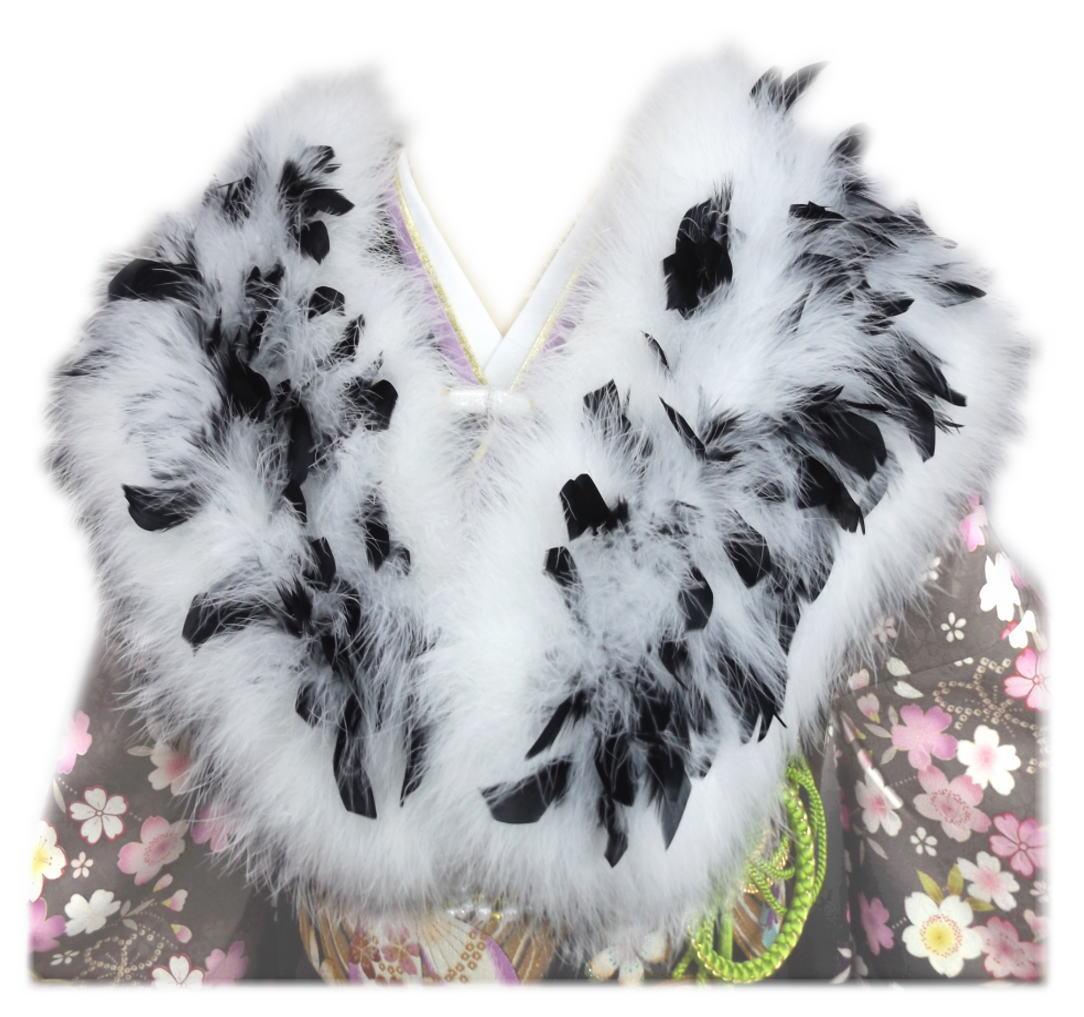 スワン羽毛ショール 白に黒羽根 振袖 成人式 卒業式 袴 はかま 着物 白色 フェザー ストール