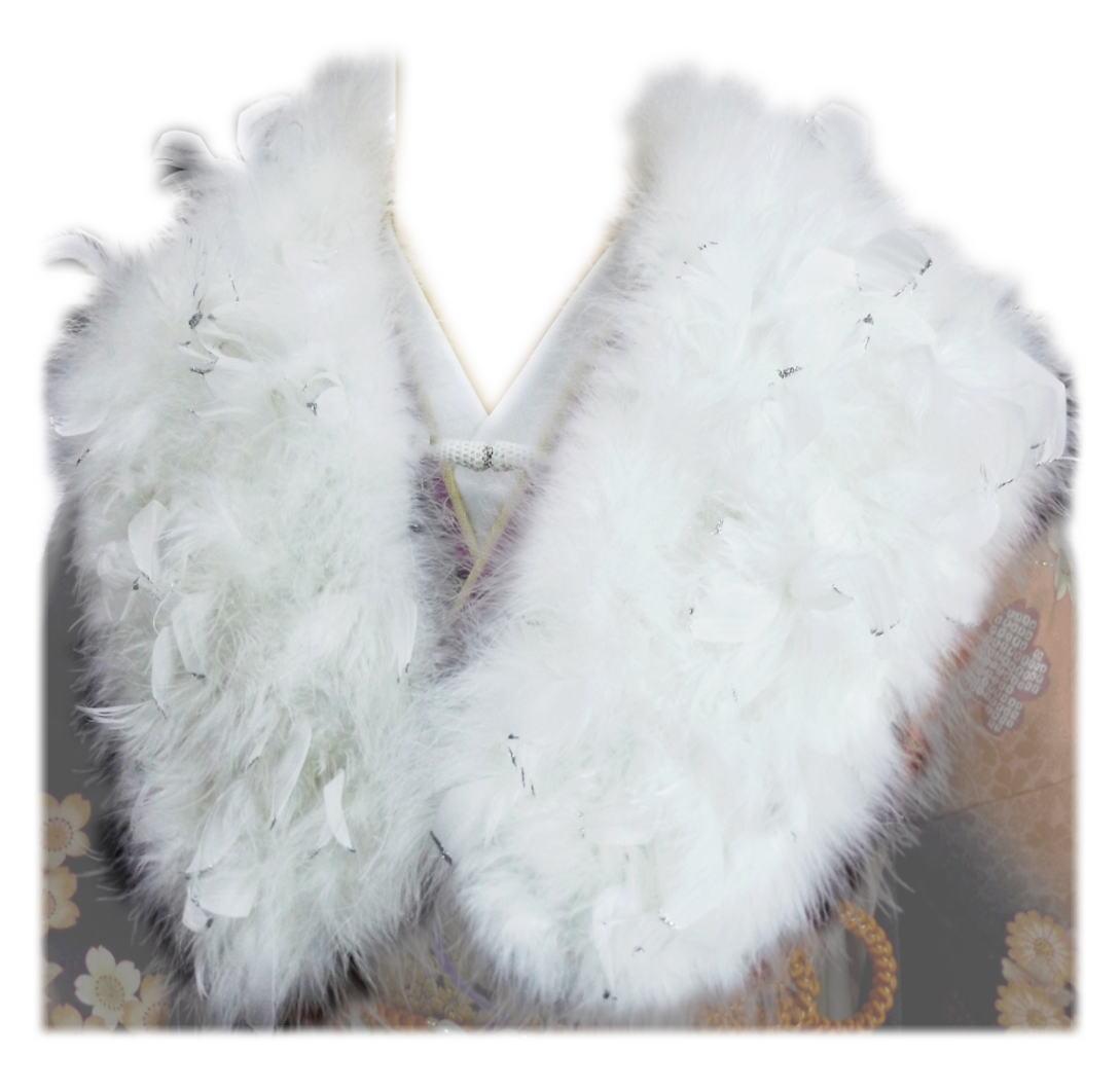スワン羽毛ショール 白にラメ銀白羽根 振袖 成人式 卒業式 袴 はかま 着物 白色 フェザー ストール