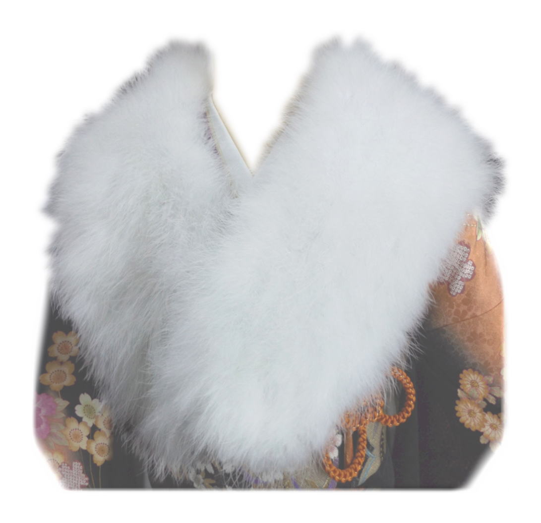 両面 羽毛ショール 振袖 成人式 卒業式 袴 はかま 着物 フェザー ストール 白色