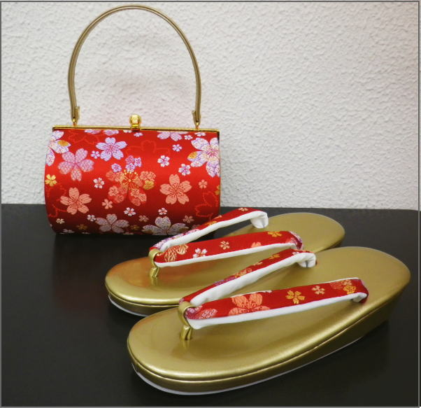 帯地草履バッグセット横丸型朱赤色地桜 振袖成人式&卒業式袴・訪問着着物に