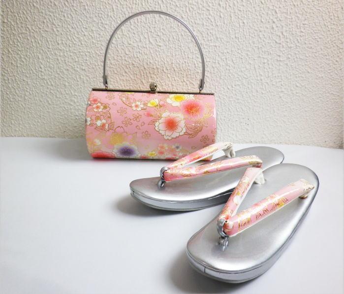 草履バッグセット大きいサイズLL=25.5cm 振袖成人式&卒業式袴・着物 横丸型ピンク銀地八重桜