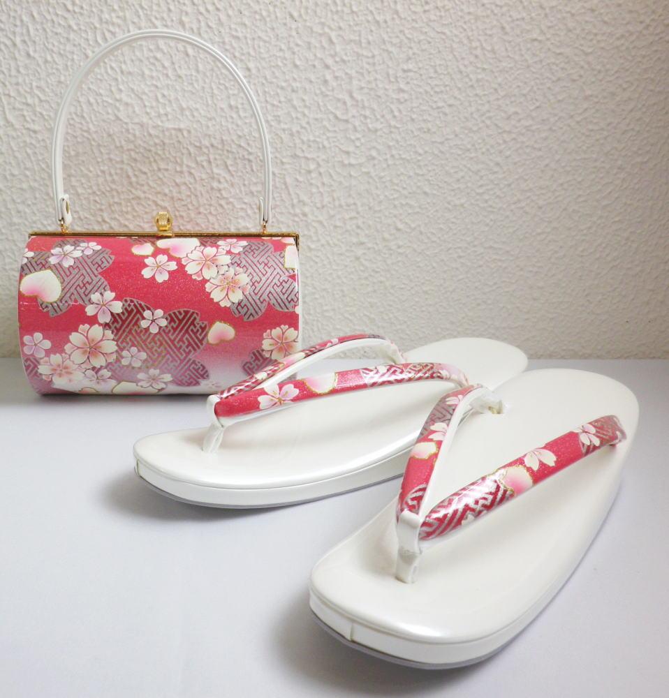 草履バッグセット大きいサイズ3L=26cm 振袖成人式&卒業式袴・着物 横丸型ピンク白ぼかし地桜桜