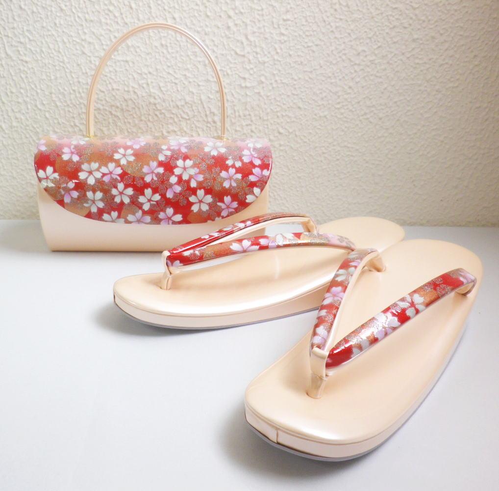 草履バッグセット大きいサイズ3L=26cm 振袖成人式&卒業式袴・着物 横丸被型赤色地桜ラメ桜