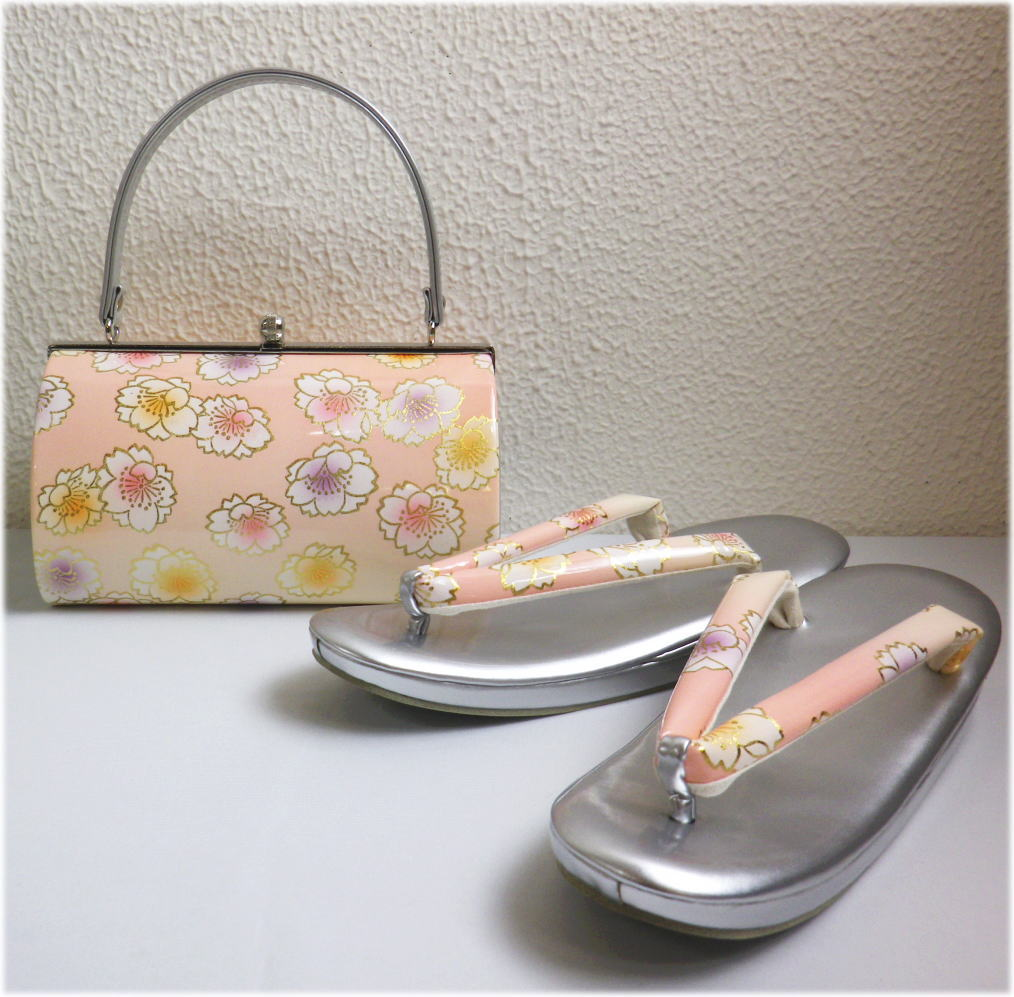 草履バッグセット大きいサイズLL=25.5cm 振袖成人式&卒業式袴・着物 横花弁型コーラルピンク地八重桜