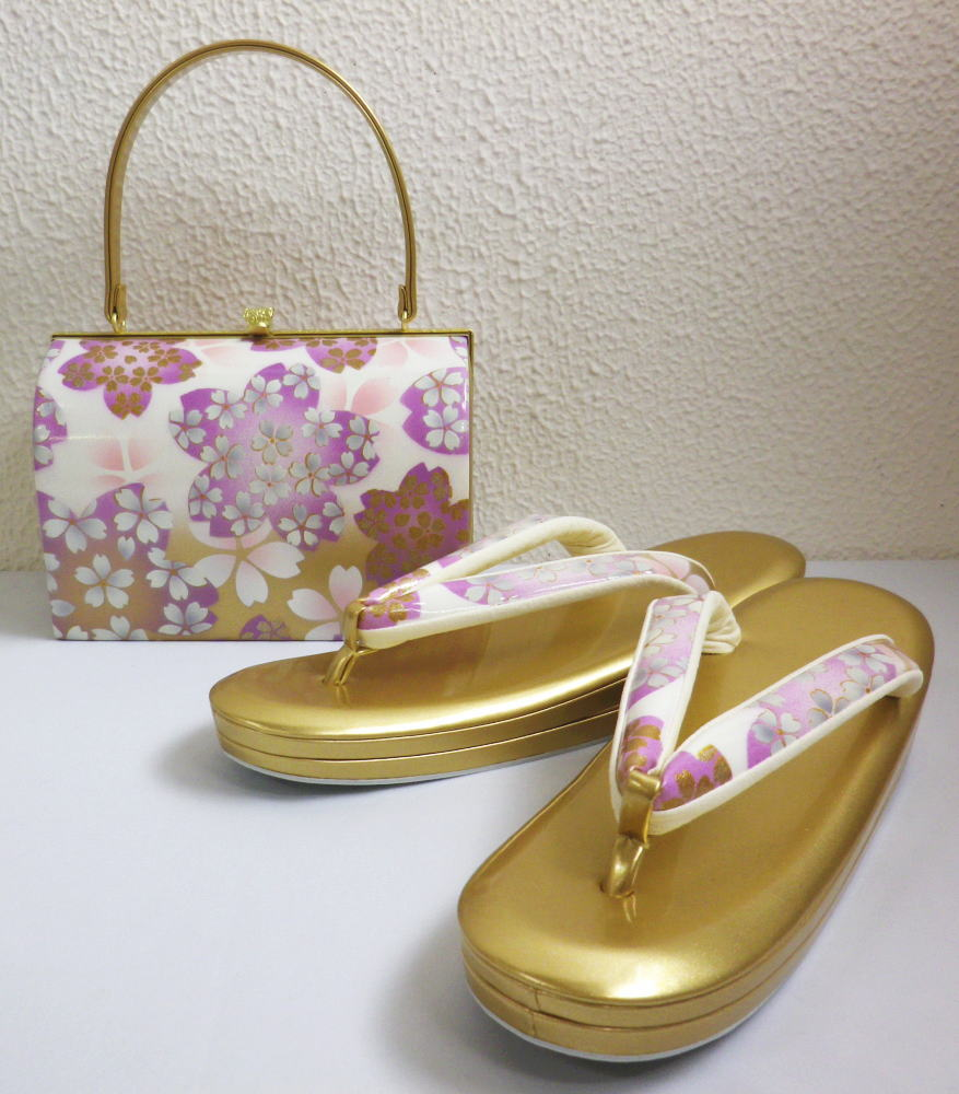 振袖成人式&袴・着物に 草履バッグセット白金ぼかし地桜桜大きいサイズ3L