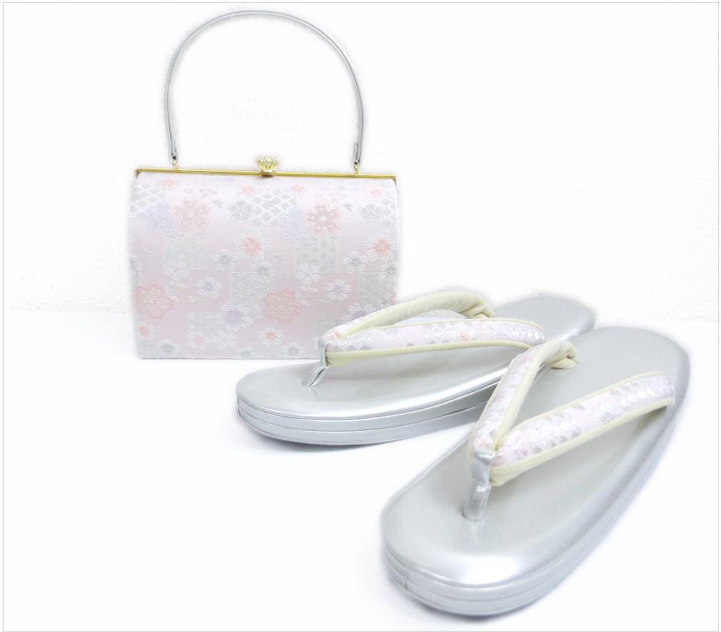 帯地草履バッグセット角型淡ピンク銀地ラメ市松桜大きいサイズ3L=27cm振袖成人式&卒業式袴・着物に