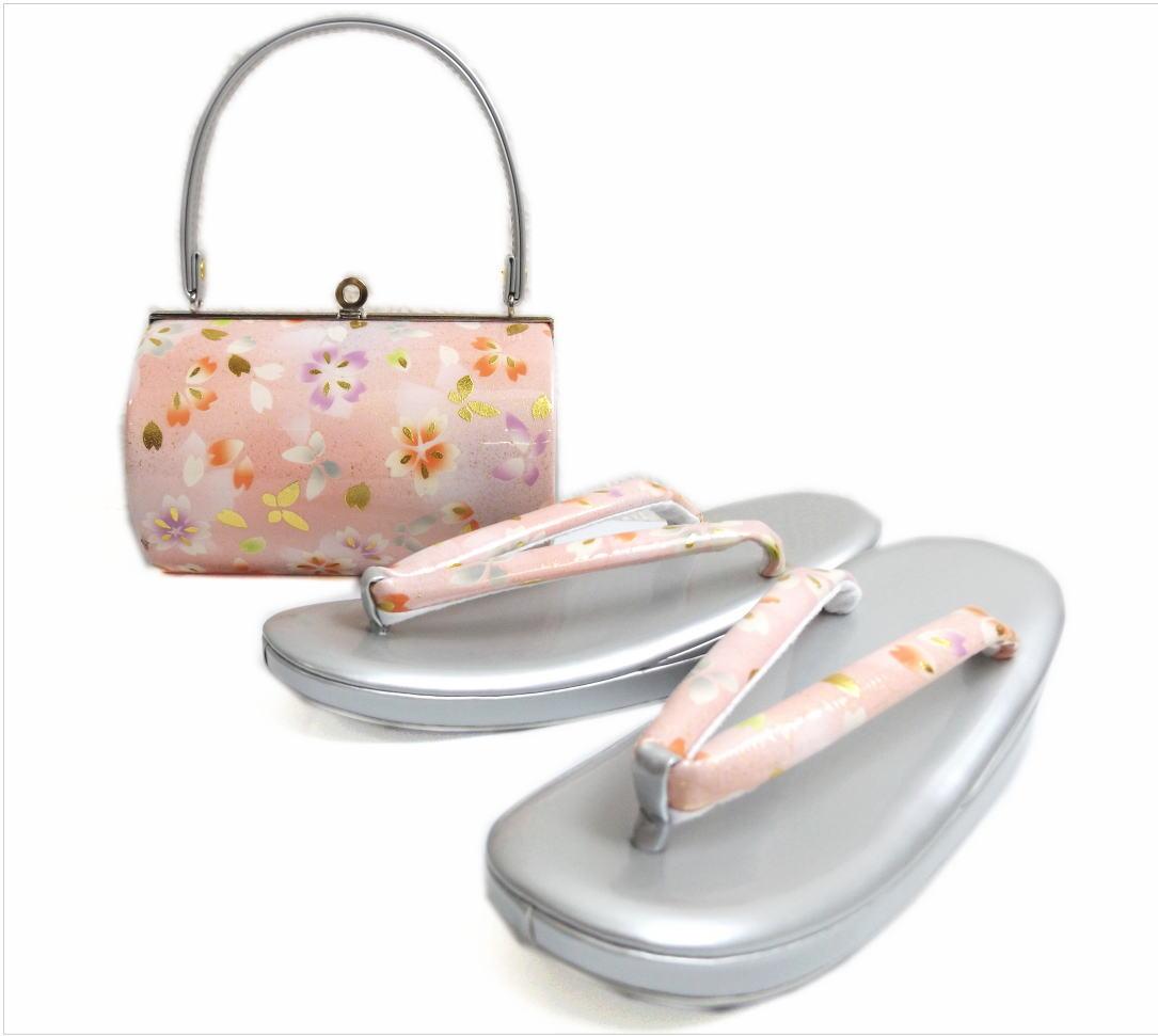 草履バッグセット横丸型薄ピンク色地桜蝶大きいサイズLL(25.5cm) 振袖成人式&卒業式袴・着物に