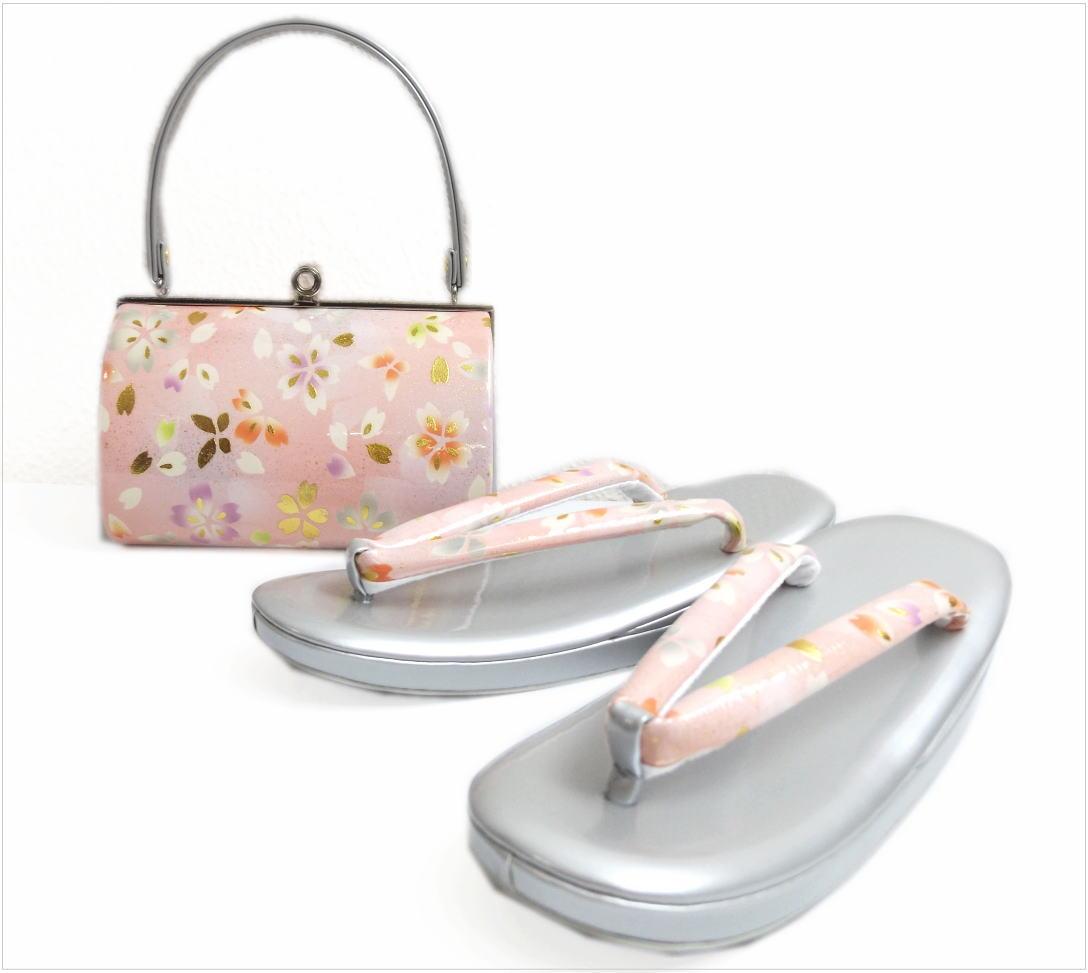 草履バッグセット横花弁型薄ピンク色地桜蝶大きいサイズLL(25.5cm) 振袖成人式&卒業式袴・着物に