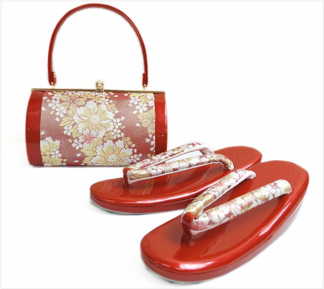 帯地草履バッグセット横花弁型赤色地可憐花桜フリー(24cm) 振袖成人式&卒業式袴・着物に