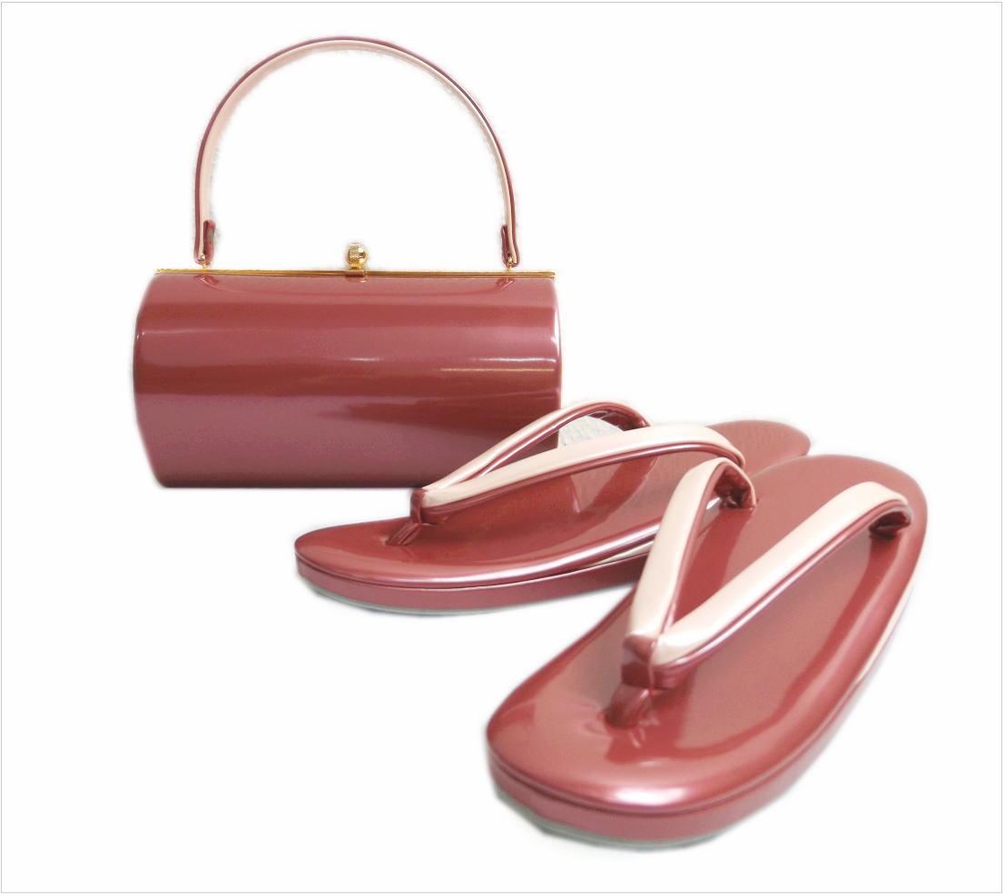 エナメル草履バッグセット横丸型ピンク色(薄ピンク)大きいサイズLL 振袖成人式&卒業式袴・着物に 日本製
