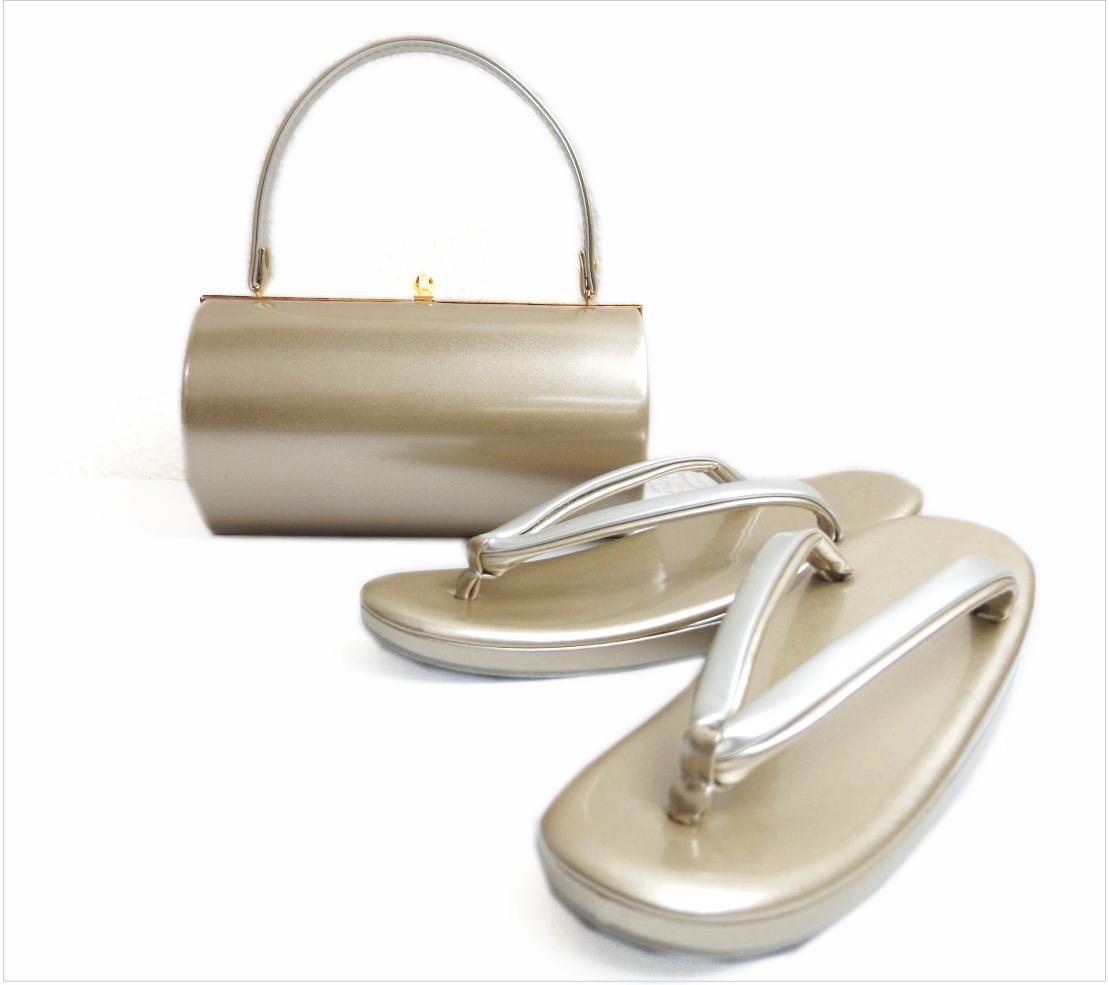 草履バッグセット エナメル 横丸型 薄金色(銀) LL 大きいサイズ 日本製 留袖 結婚式 着物 振袖 成人式 卒業式 袴