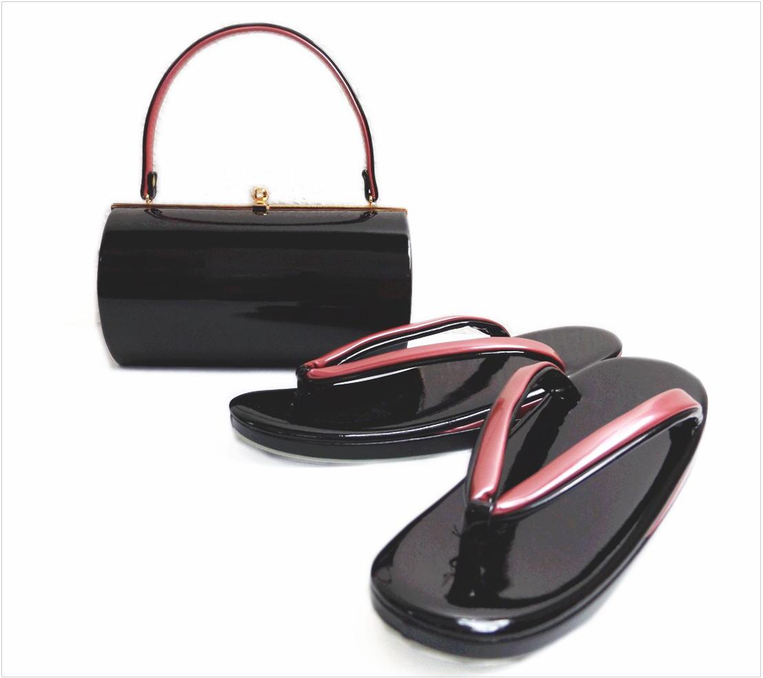 草履バッグセット エナメル 横丸型 黒色(ピンク) LL 大きいサイズ 日本製 振袖 成人式 卒業式 袴 着物