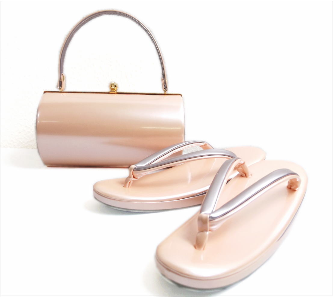 エナメル草履バッグセット横丸型薄ピンク色(グレー)M・L 振袖成人式&卒業式袴・着物に 日本製