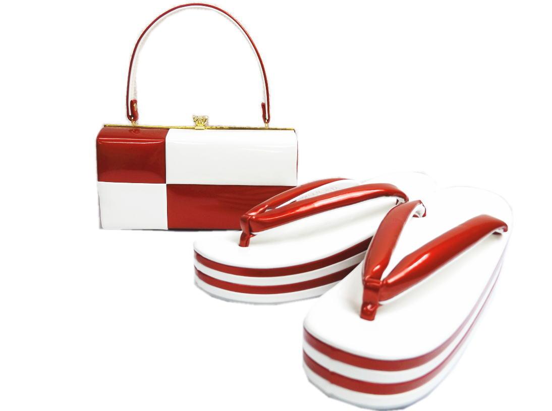 エナメル草履バッグセット横角型市松赤白フリー(24.5cm)・LL(25.5cm) 日本製 振袖成人式&卒業式袴・着物に