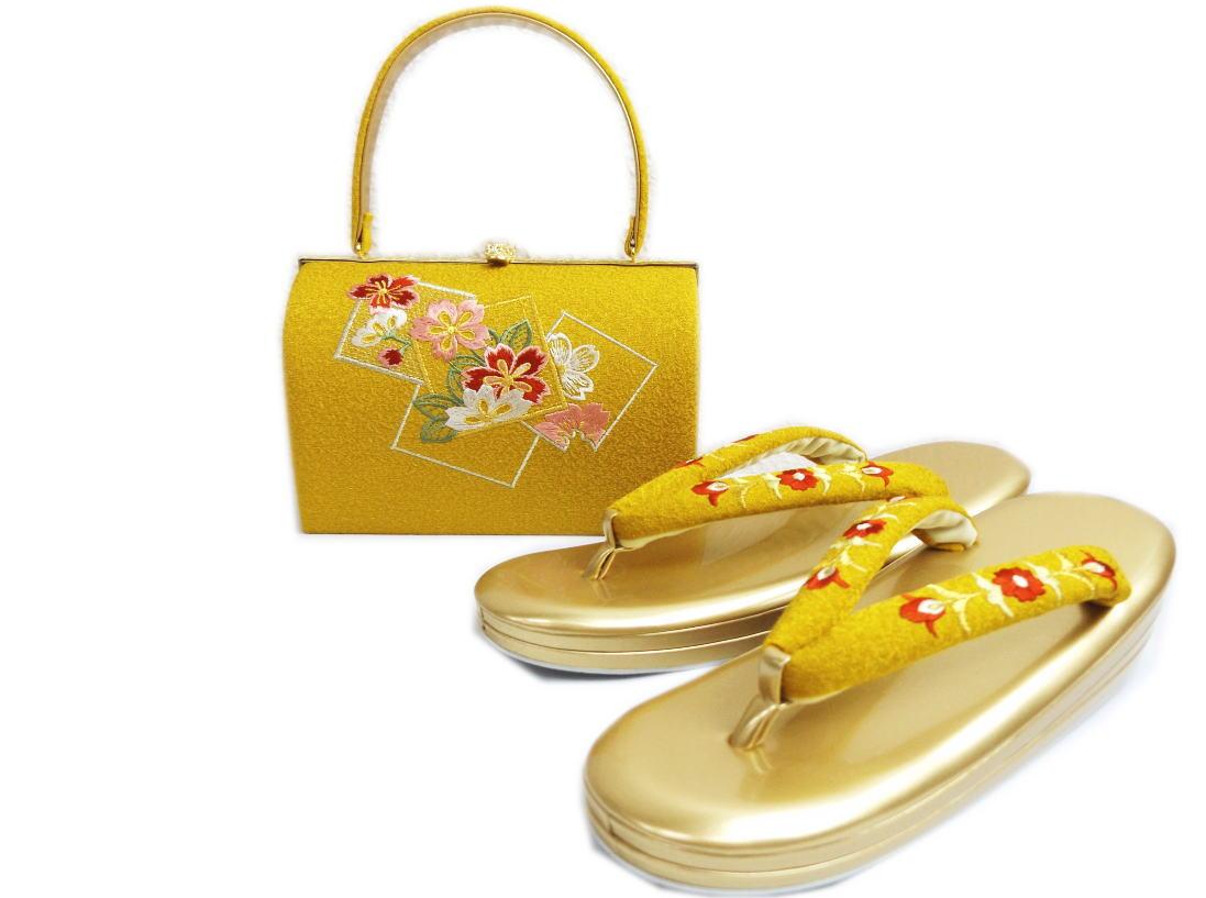 ちりめん刺繍草履バッグセット角丸型金茶色地桜色紙 大きいサイズ3L=26cm・4L=27cm 振袖成人式&卒業式袴・着物に 日本製
